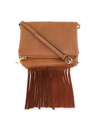 French Connection Bailey Laser Cut Fringe Crossbody Bag Nutmeg Brown