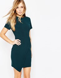 Asos Short Sleeve Clean Asymmetric Mini Dress Green