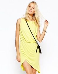 Jersey Dress With Wrap Detail Yellow