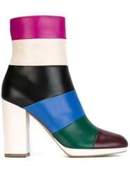 Valentino Garavani Striped Ankle Boots Pink And Purple