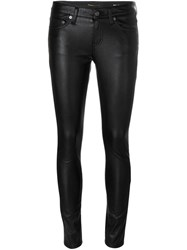 Saint Laurent Leather Look Skinny Trousers Black