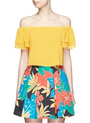 Alice Olivia 'Whit' Ruffle Off Shoulder Silk Cropped Top Yellow