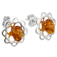 Goldmajor Amber And Silver Earrings