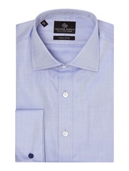 Chester Barrie Herringbone Tailored Fit Formal Shirt Blue