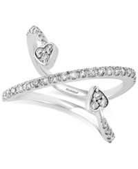 Effy Collection Pave Classica By Effy Diamond Double Arrow Heart Ring 3 8 Ct. T.W. In 14K White Gold