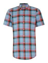 Paul Costelloe Check Classic Fit Classic Collar Shirt Red