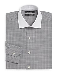 Saks Fifth Avenue Thomas Mason Cotton Slim Fit Contrast Collar Plaid Dress Shirt White Black