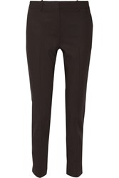 Theory Testra Cropped Twill Tapered Pants Brown