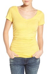 Women's Caslon Shirred V Neck Tee Yellow Mimosa