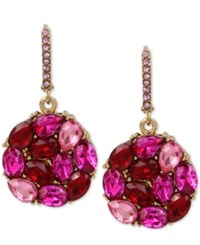 Betsey Johnson Gold Tone Pink And Red Crystal Round Drop Earrings Pink Multi