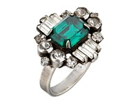 Dannijo Beacon Ring Ox Silver Clear Emerald Ring Green