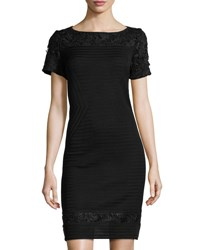 Ming Wang Lace Inset Knit Sheath Dress Blk