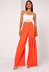 Missguided Wide Leg Buckle Waist Detail Trousers Orange Orange