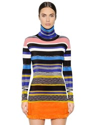 Missoni Striped Ribbed Turtleneck Sweater Dress