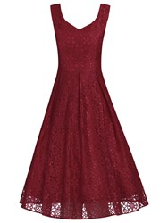 Jolie Moi Sweetheart Neck Pleated Lace Dress Dark Red