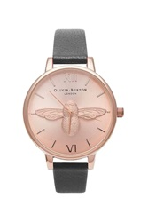Topshop Olivia Burton Moulded Bee Black And Rose Gold Watch