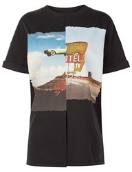 Cedric Charlier Charcoal Motel Patched T Shirt Multi
