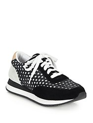 Loeffler Randall Rio Laser Cut Leather And Suede Sneakers Black