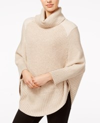 Maison Jules Faux Suede Detail Poncho Sweater Only At Macy's Heather Caramel