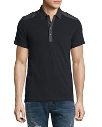 Diesel T Angie Denim Trim Short Sleeve Polo Shirt Black
