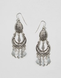 Missguided Boho Silver Drop Earings Silver