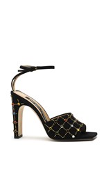 Sergio Rossi Black Suede Jeweled Sandals