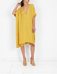 A Detacher Lulu Dress Silk Georgette Citron