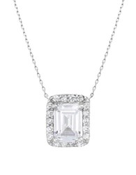 Lord And Taylor Cubic Zirconia Sterling Silver Clear Rectangle Pendant Necklace