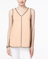 Alfani Embellished V Neck Top Only At Macy's Silver Peony
