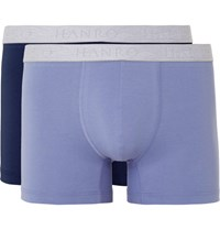 Hanro Two Pack Tretch Cotton Boxer Brief Light Blue