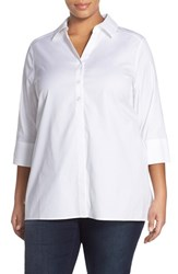 Plus Size Women's Foxcroft 'Pamela' Button Back Non Iron Tunic Shirt