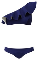 Lisa Marie Fernandez Aden One Shoulder Bikini Set Navy