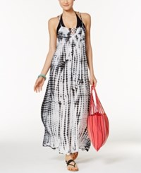Raviya Tie Dyed Lattice Back Maxi Dress Cover Up Women's Swimsuit Black