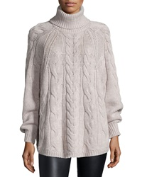 Halston Long Sleeve Cable Knit Sweater Natural