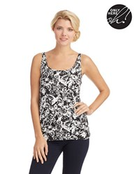 Lord And Taylor Slimming Printed Tank Black White