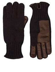 Barneys New York Men's Leather Accented Cashmere Gloves Navy
