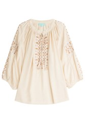 Melissa Odabash Avalon Blouse Embroidered Tunic Beige