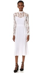 Prabal Gurung Ruffle Long Sleeve Mock Neck Dress Snow