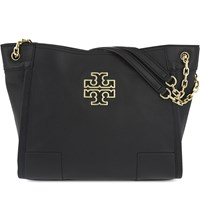 Tory Burch Britten Slouchy Leather Tote Black