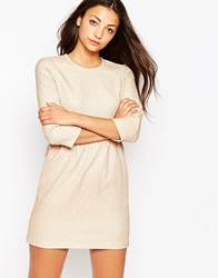 Traffic People Snowballs Textured Long Sleeve Dress Beige