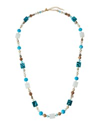 Emily And Ashley Greenbeads By Emily And Ashley Long Marbled Square And Round Beaded Necklace Multi