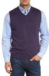 Cutter And Buck Men's 'Douglas' Merino Wool Blend V Neck Sweater Vest Charade Heather