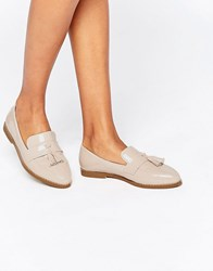 Daisy Street Nude Patent Tassel Flat Loafer Shoes Nude Patent Beige
