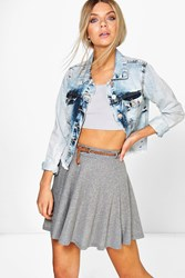 Boohoo Skater Skirt With Belt Grey