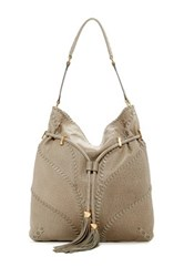 Brian Atwood Lucas Leather Hobo Bag Gray