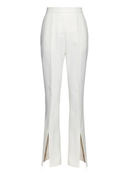 Marni Open Cuffs Cotton And Wool Blend Flared Trousers
