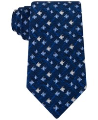 Tommy Hilfiger Men's Swimming Fish Classic Tie Navy