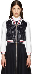 Thom Browne Tricolor Patent Varsity Bomber Jacket