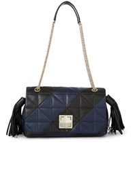 Sonia Rykiel Navy Quilted Leather Flap Bag Print