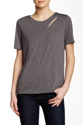 Shades Of Grey Diagonal Cutout Tee Gray